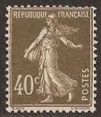 miniature FRANCE 1924  YT 193b type II Neuf - Semeuse 40 c brun-olive