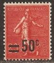 miniature FRANCE 1926 YT 220 Neuf * - Semeuse fond ligné 80c rouge surchargée 50c
