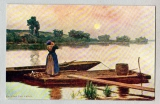 miniature Carte Postale - Calling the Ferry - passage fluvial ou lac