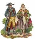 DECOUPIS  gaufrés Couple russe 10  x 9 cm époque 1900