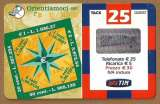 miniature Télécarte - Phonecard - Italie - Ricaricard - Hologramme - Rose des Vents - Euros .