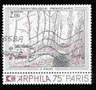 miniature France Oblitéré Yvert N°1812 Tableau SISLEY Canal de LOING 1974 avec vignette arphila