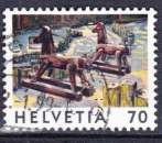 miniature Suisse 1998 YT 1571 Obl Peinture Jean Frederic Schnyder Deux chevaux