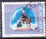 miniature Suisse 2000 YT 1650 Obl Boule neige bouquetin gentiane