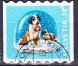 miniature Suisse 2000 YT 1650 Obl Boule neige chien saint bernard
