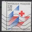 miniature FRANCE 1988 - Y & T : 2555 (o) - Croix-rouge : emblême