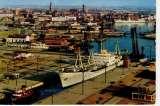 miniature Dunkerque vue générale sur le port ( bateau , remorqueur à l'écluse Trystram , pont levé