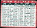 159 - Calendrier de poche - 1975 - Loterie Nationale - 2 scans