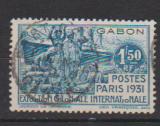miniature GABON      N ° 124     OBLITERE      (02/16 )