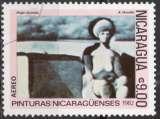miniature C108 - Y&T n° 1007 - oblitéré - Femme assise par A Morales - 1982 - Nicaragua