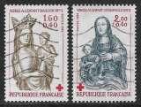 miniature FRANCE 1983 Y&T 2295 et 2296 oblitérés - Croix-Rouge - Sculptures en bois polychrome