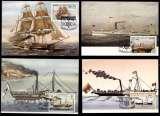 miniature Lot 1 - 4 Cartes Maximum FDC - Sao Tomé 1984 - Bateaux à vapeur Steamboats