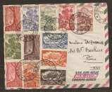 miniature LETTRE AEF BRAZZAVILLE 31 MAI 1954 POUR PARIS - AFFRANCHISSEMENT COMPOSÉ - 2 scans -