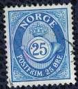 miniature Norvège 1974 Oblitéré Used Posthorn Corne Postale 25 ore bleu SU