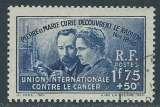 miniature FRANCE 1938 Y&T 402 oblitéré - Pierre et Marie Curie , découverte du radium