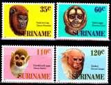 miniature Surinam 1061 / 64 Têtes de singes du Surinam