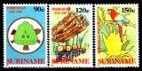 miniature Surinam 1082 / 84 40e anniversaire Commission nationale des forêts