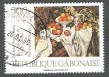 Gabon 1989 Y&T 669 oblitéré - Sesquicentenaire de la naissance de Paul Cezanne - Pommes et oranges