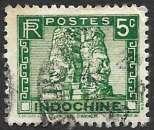 miniature Indochine 1941 Y&T 214 oblitéré - Bayon d'Angkor