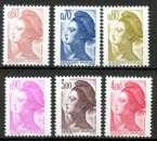 miniature France neuf Yvert N°2239 à 2244 Liberté 1982 série complète
