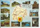 miniature CPM - 15 - Cantal - Carte géographique - Aurillac Garabit Alleuze - 1970 - Dos scanné