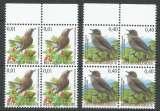 miniature Belgique 2004 3264-65 ** bloc de 4 Oiseaux Buzin Rossignol philoméle Gobemouche gris