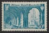 miniature FRANCE 1951 Y&T 888 Neuf ** - Abbaye de Saint-Wandrille 30 fr bleu turquoise