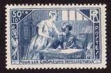 miniature France 1935  Y&T 307 * au profit des chômeurs intellectuels la mansarde 50 c + 10 c   cote 3€