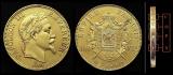 miniature COPIE - 1 Pièce plaquée OR sous capsule ! - 100 Francs Napoléon III Tête Laurée 1869 BB