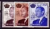 miniature Maroc  3 timbres roi Hassan  oblitérés