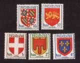 miniature France 1949  Y&T 834 à 838 ** armoiries de provinces IV  cote 2,10,€