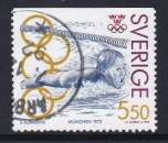 TIMBRE OBLITERE DE SUEDE - GUNNAR LARSSON, NATATION, MEDAILLE D'OR AUX J.O. DE MUNICH N° Y&T 1703