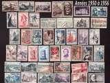 miniature France 1950 à 56  lot de 43 timbres oblitérés tous différents  cote 20,65€ à moins de 10% de la cote