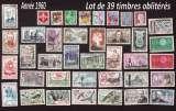 miniature France 1960  lot de 39 timbres oblitérés tous différents  cote 27,20€ à moins de 10% de la cote