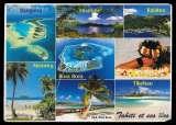CPM - Tahiti multivues - a circulé - 2 timbres de polynésie au dos - voir 2 scans