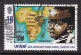 miniature TIMBRE OBLITERE DE JERSEY - CINQUANTENAIRE DE L'UNICEF : PAYS AFRICAINS N° Y&T 722