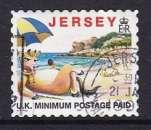 miniature TIMBRE OBLITERE DE JERSEY - TOURISME : LILLIE LA VACHE A LA PLAGE SOUS UN PARASSOL N° Y&T 767