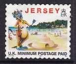 miniature TIMBRE OBLITERE DE JERSEY - TOURISME : LILLIE LA VACHE A LA PLAGE AVEC SEAU, PELLE, ... N° Y&T 769