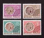 miniature France 1964-69 timbres préoblitérés  Y&T 130 à 133 **  monnaie gauloise   cote 6,00€