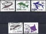 miniature Corée du Nord 1990 - Poissons ( Mi 3154/58 - YT 2163/67 ) Série complète