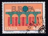 miniature TIMBRE OBLITERE D'ITALIE - EUROPA 1984 : PONT DE LA COMMUNAUTE EUROPEENNE N° Y&T 1618
