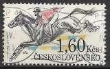 miniature Tchecoslovaquie 1978 Y&T 2301 oblitéré - Course de chevaux de Pardubice : saut