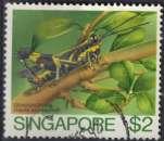 miniature Singapour 1985 Oblitéré Used Insecte Traulia azureipennis Grasshopper Sauterelle
