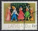 miniature Lettonie 1992 Oblitéré Used Christmas enfants jouant au tour du sapin de Noël