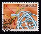 miniature TIMBRE OBLITERE DU LUXEMBOURG - EUROPA 1994 : SPHERE ARMILLAIRE ET FLECHES DE COULEUR N° Y&T 1290