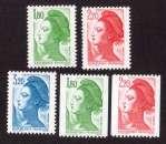 miniature France 1985  Y&T 2375 à 2377 - 2378 - 2379 ** Liberté de Gandon cote 7,00€