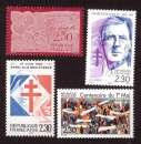 miniature France 1990 Y&T 2631 - 2634 - 2644 - 2656 ** dentelle, De Gaulle, 1er mai, Appel 18 juin cote 5,00€