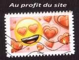 miniature Au profit du site France 2018 Y&T (o)   timbre du carnet Emoji lettre verte
