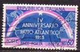 miniature Italie 1953 YT 661 Obl 4ieme anniversaire OTAN NATO