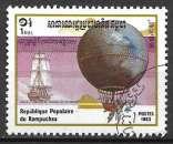 Kampuchea 1983 Y&T 396 oblitéré - Ballon de Blanchard et Jeffries